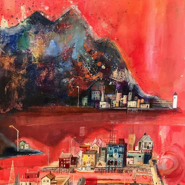 Emmie van Biervliet, 'Arctic Circle, Land of the Summer Sun', mixed media, H 61 x 48 cm framed.
