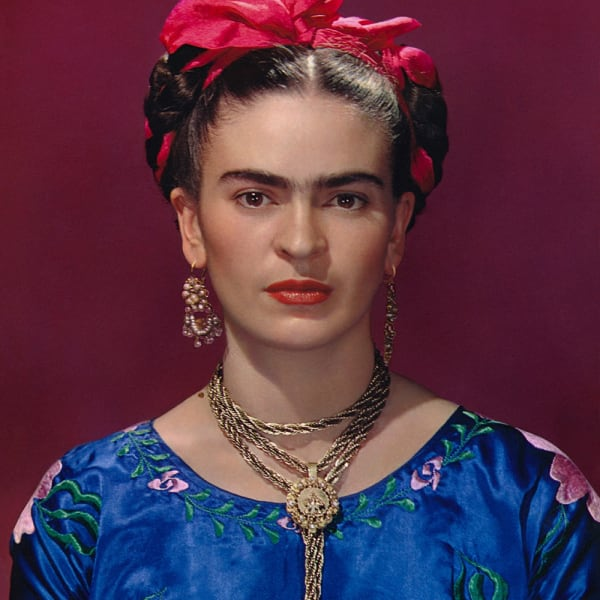 Frida Kahlo: Making Herself Up, 16 June - 14 November 2018. Sponsored by Grosvenor Britain & Ireland. Frida Kahlo in blue satin blouse, 1939, photograph by Nickolas Muray © Nickolas Muray Photo Archives