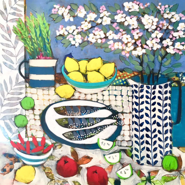 Relton Marine - Still Life with Appleblossom and Fish, Currently in singapore