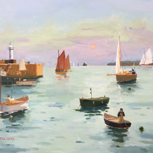 Eric Ward (b.1945) - An early summer morning at St Ives Harbour