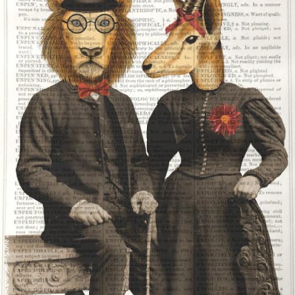 Unframed Prints - Lion and Gazelle