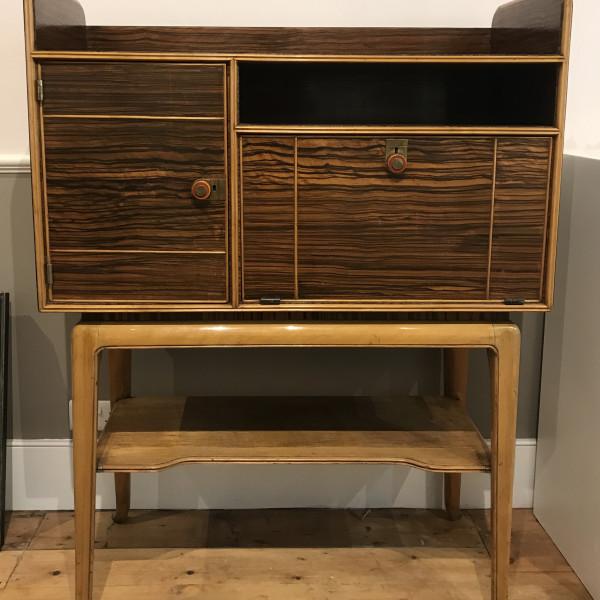 Lazlo Hoenig - Macassar and Maple Bureau and Cocktail Cabinet C1950jane, C1950