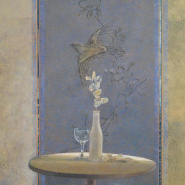 David Tindle RA - Table and embossed Chinese Screen