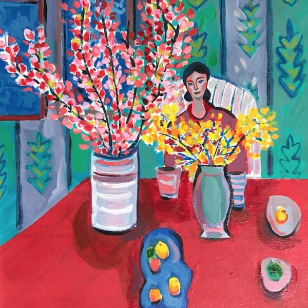John Myatt - Woman with Flowers - Original