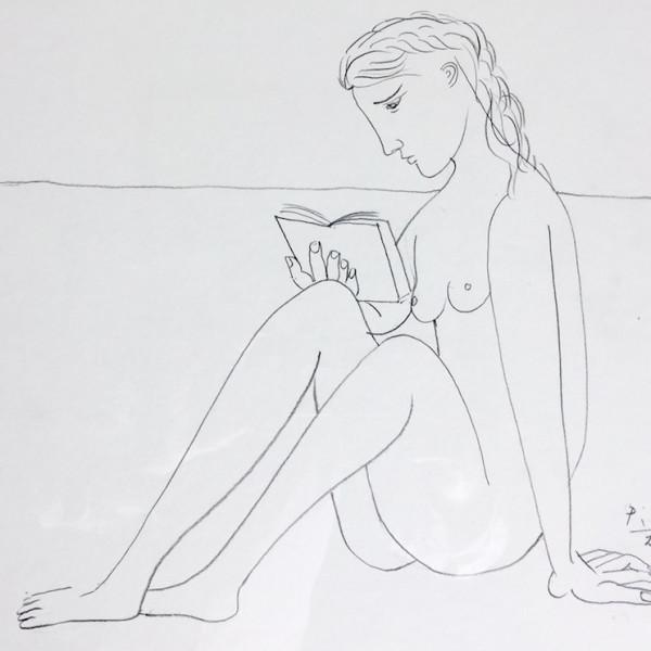 John Myatt - Reading Nude - Original