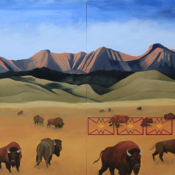 Kay WalkingStick - Buffalo Country (diptych), 2018