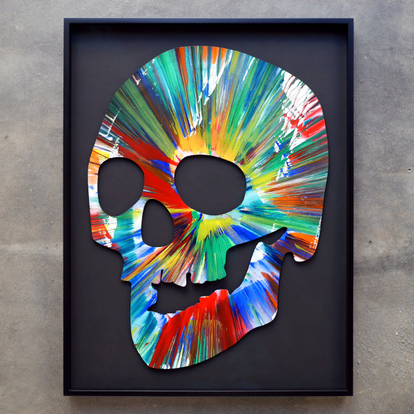 Damien Hirst, SKULL Spin Painting, HAND SIGNED IN BLACK MARKER ORIGINAL PAINTING, 2009