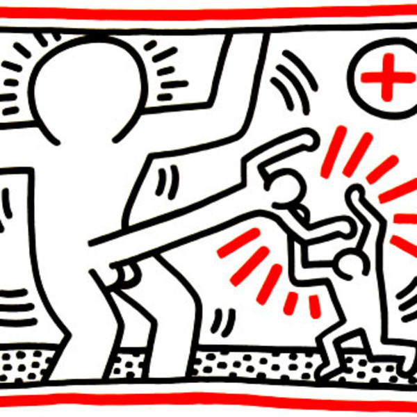 Keith Haring, 3 Lithographs (Cock Fight), 1985