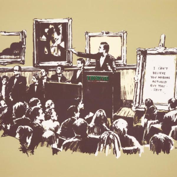Banksy, Morons (Sepia SIGNED) *SOLD*, 2008
