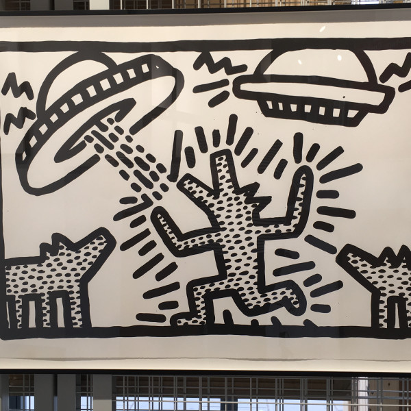 Keith Haring, Untitled (Flying Saucers with Dogs) *SOLD*, 1982
