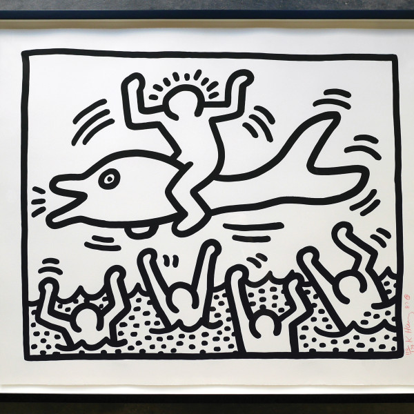 Keith Haring, Untitled (Man on Dolphin) , 1987