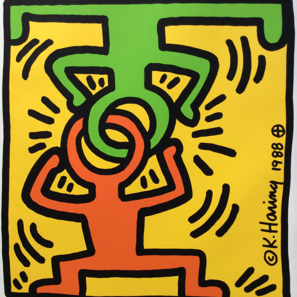 Keith Haring, Düsseldorf - Galerie Hans Mayer SPECIAL HAND SIGNED POSTER *SOLD*, 1988
