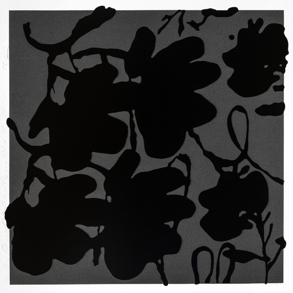 donald sultan, Lantern Flowers, Black and Grey *SOLD*, 2017