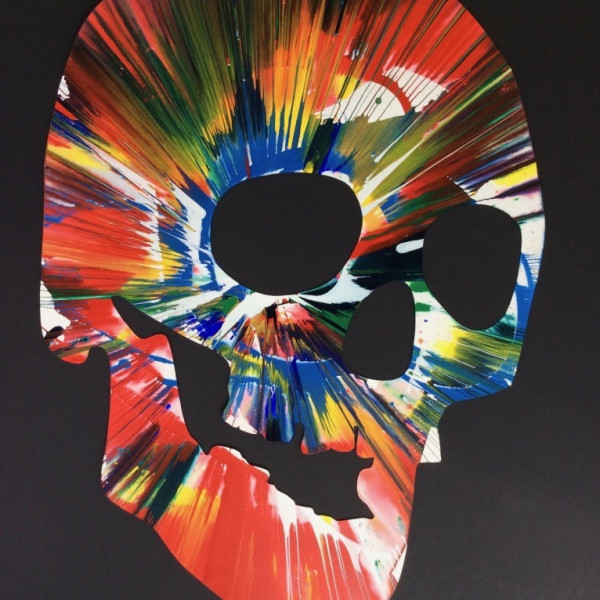 Damien Hirst, Skull (original spin painting on paper) Hand signed, authenticated., 2009