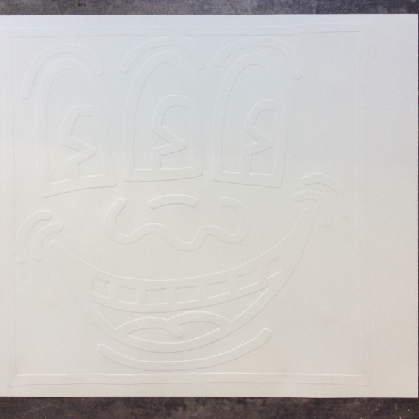 Keith Haring, White Icons, Smiley Face *SOLD*, 1990