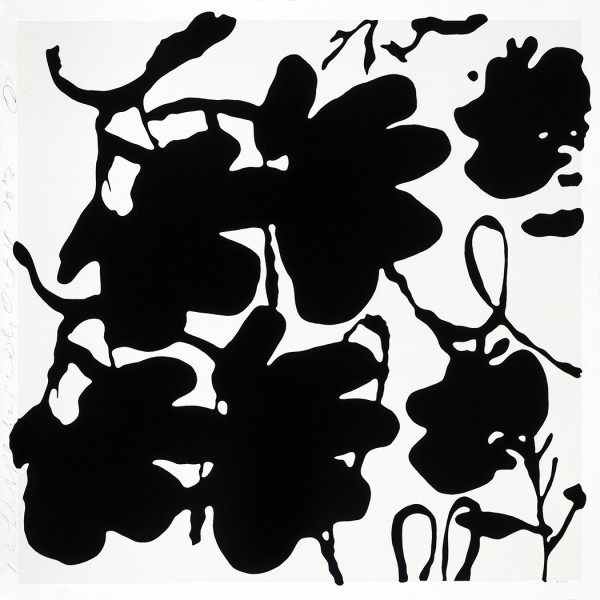donald sultan, Lantern Flowers, Black and White *SOLD*, 2017