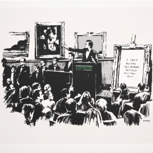 Banksy, Morons (white, unsigned) SOLD, 2007