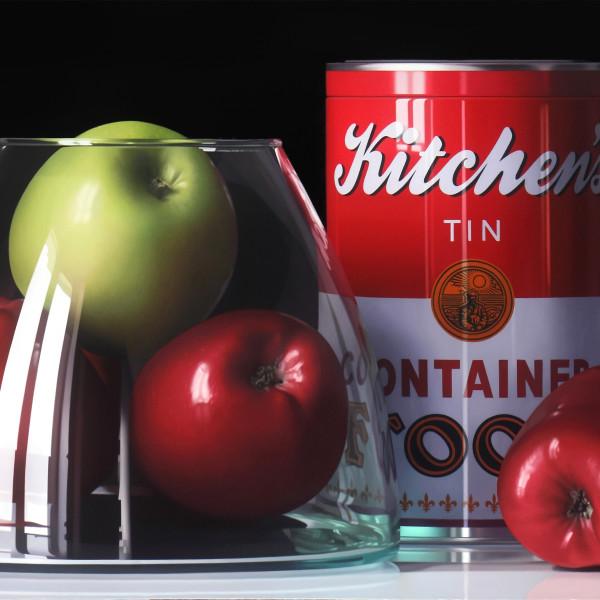 Pedro Campos - Four Apples and a Tin, 2018