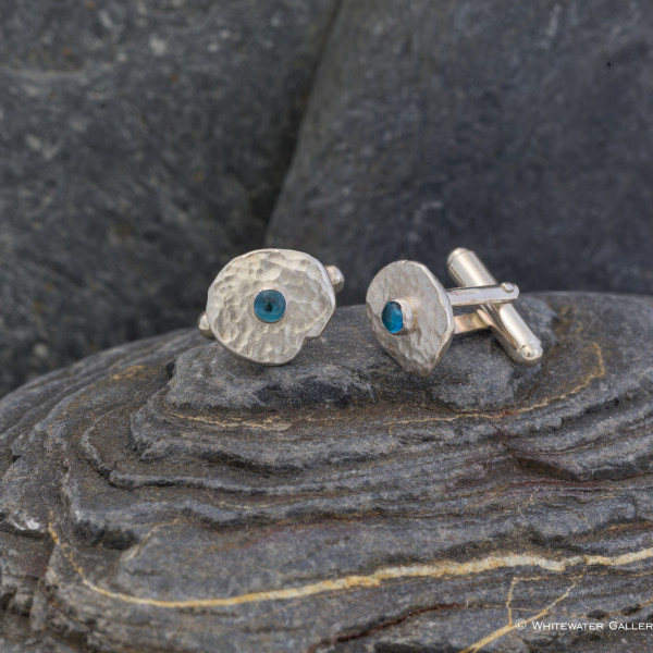Marsha Drew, Hammered Cufflinks with London Blue Topaz