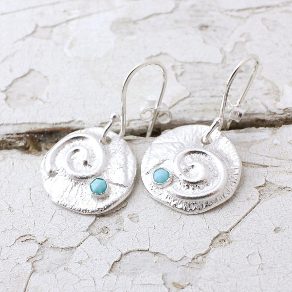 Marsha Drew, Textured Swirly Dangle Earrings with Turquoise