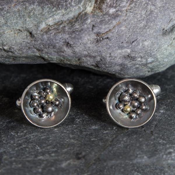 Marsha Drew, Barnacle Cufflinks with Oxidised Silver & 18k Gold Detail
