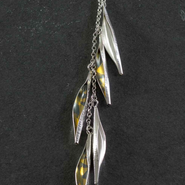 Marsha Drew, Pod Cascade Necklace, Oxidised with 24k Gold Keum-Boo