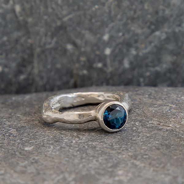 Marsha Drew, Rockpool Rustic Ring with large London Blue Topaz