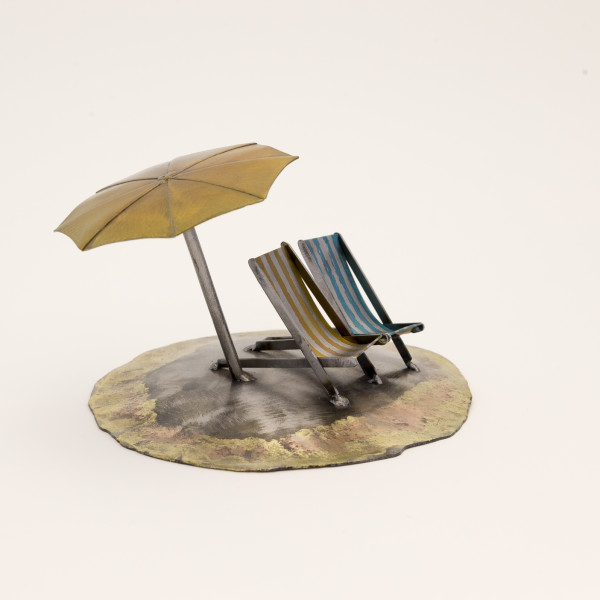 Kerry Whittle, Island, Umbrella and Two Chairs