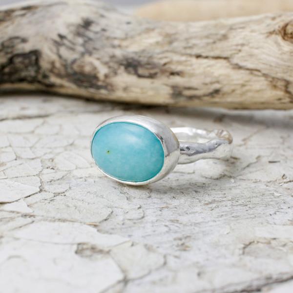 Marsha Drew, Rockpool Rustic Ring with Xlarge Oval Amazonitezuli