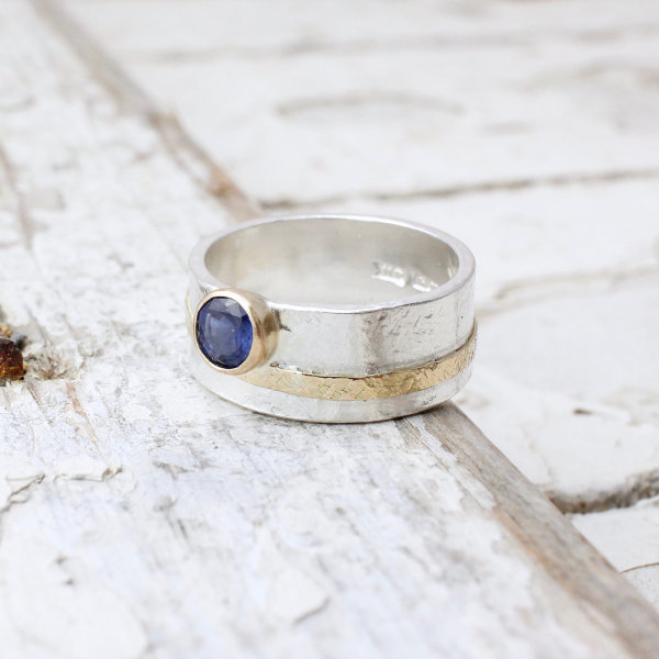 Marsha Drew, Textured Sapphire Ring with 9k Gold Detail