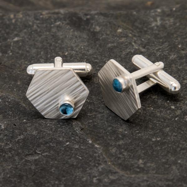 Marsha Drew, Hexagon Cufflinks with Swiss Blue Topaz