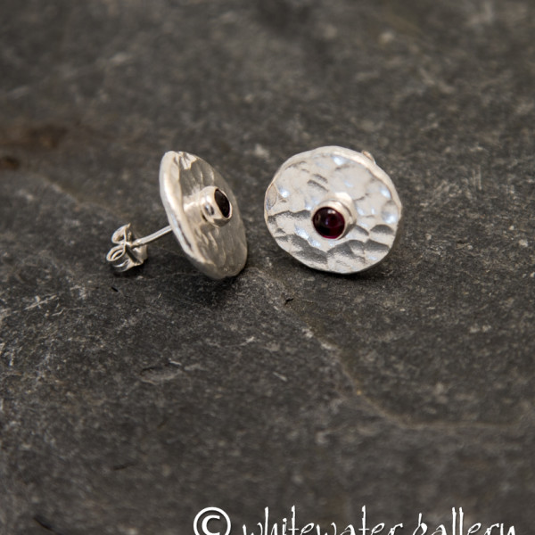 Marsha Drew, Hammered Fine Silver Stud Earrings with Garnet