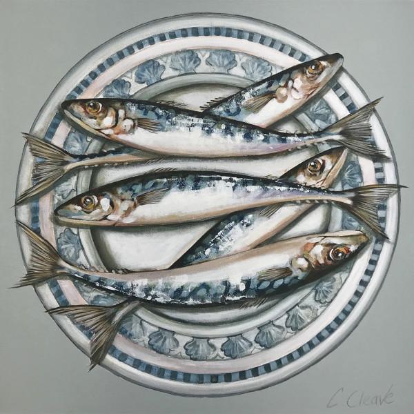 Caroline Cleave, Mackerel on Blue Scallop Plate