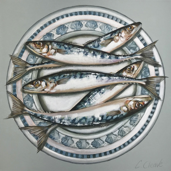 Caroline Cleave - Mackerel on Blue Scallop Plate