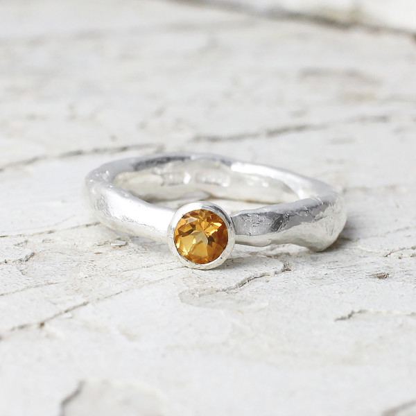 Marsha Drew, Rockpool Rustic Ring with Small Citrine