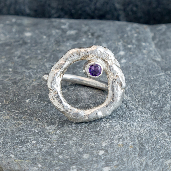 Marsha Drew, Rockpool Halo Ring with Amethyst