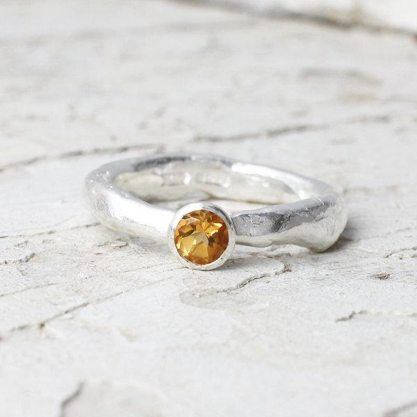 Marsha Drew, Rockpool Rustic Ring with Small Citrine