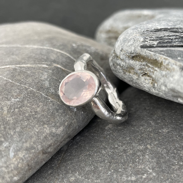 Marsha Drew, Rockpool Rustic Ring with Oval Faceted Rose Quartz