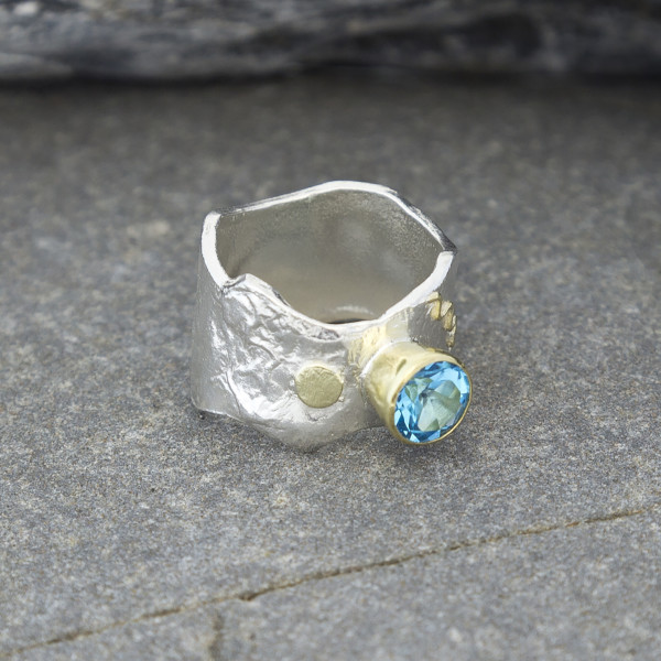 Marsha Drew, Textured Ring with 18k Gold Details and Swiss Blue Topaz