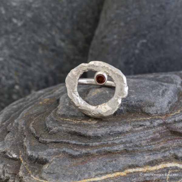 Marsha Drew, Rockpool Halo Ring with Garnet