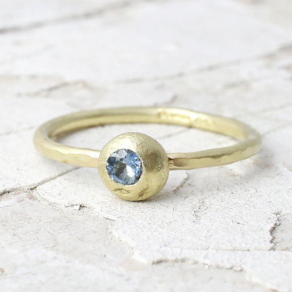 Marsha Drew, Slim Hammered Nugget Ring with Aquamarine