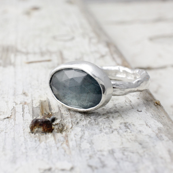 Marsha Drew, Rustic Ring with Oval Faceted Aquamarine