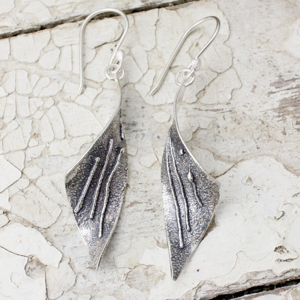 Marsha Drew, Tempest Earrings with Oxidised Silver and Linear Texture