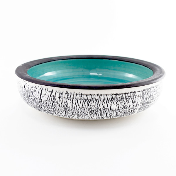 Hugh West, Black and White Crackled Turquoise Bowl, 2021