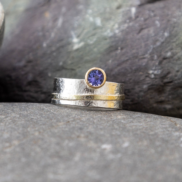 Marsha Drew, Textured Tanzanite Ring with 9k Gold Detail