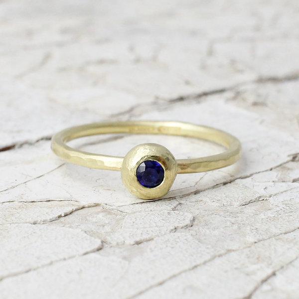 Marsha Drew, Slim Hammered Nugget Ring with Sapphire