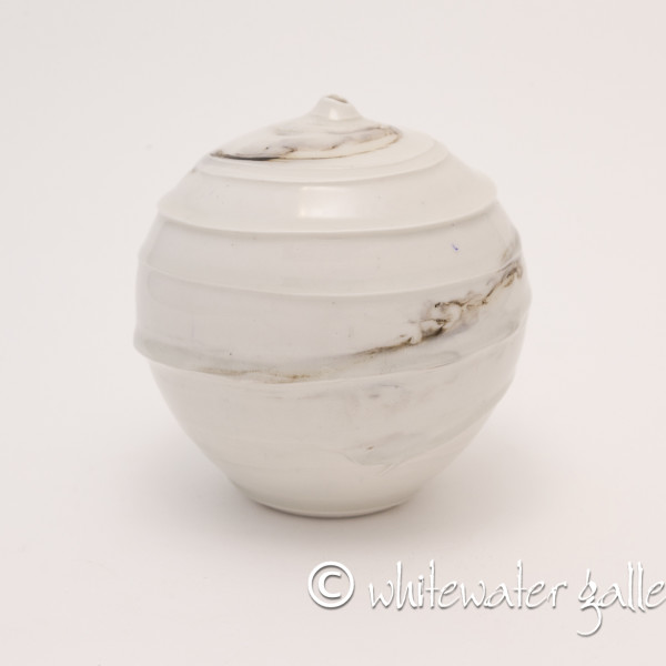 Hugh West, Round Bottle Vase with Textured Glaze
