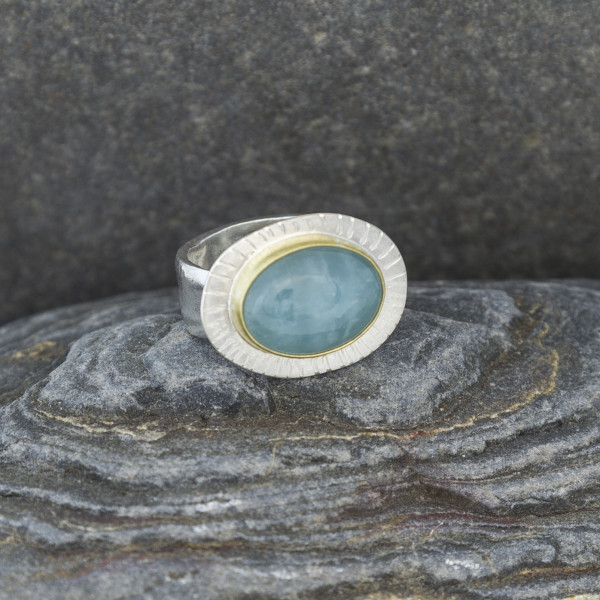 Marsha Drew, Textured Aquamarine Statement Ring with 18k Gold Setting