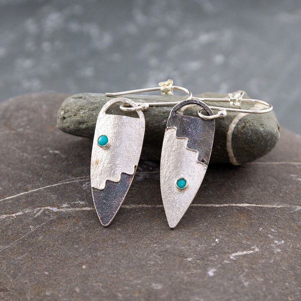 Marsha Drew, Long Shield Earrings with Turquoise