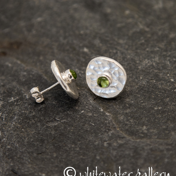 Marsha Drew, Hammered Fine Silver Stud Earrings with Peridot